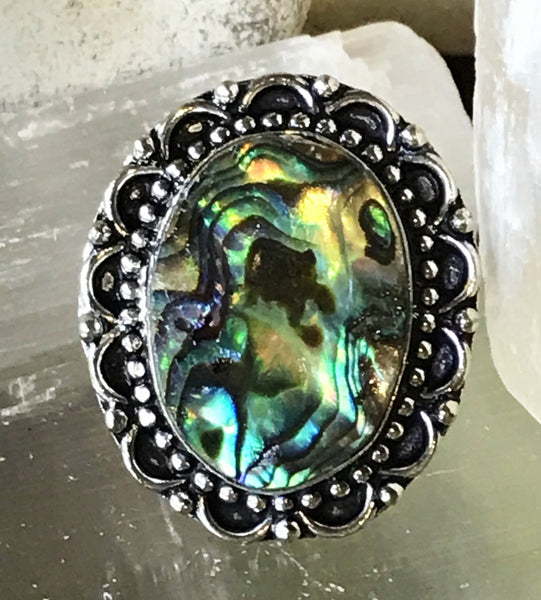 Abalone Shell .925 Sterling Silver Ring (Size 7.5)