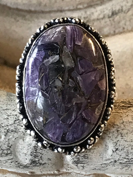 Charoite Natural Gemstone .925 Sterling Silver Ring (Size 8.75)