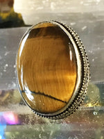 Tiger Eye Natural Gemstone .925 Sterling Silver Ring (Size 7.25)