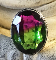 Tourmaline Tri-Color Genuine Faceted Gemstone .925 Sterling Silver Ring (Size: 8.75)