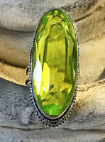 Peridot Natural Gemstone .925 Sterling Silver Ring (Size 8.75)