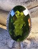 Peridot Natural Genuine Faceted Gemstone .925 Sterling Silver Ring (Size: 8.5)