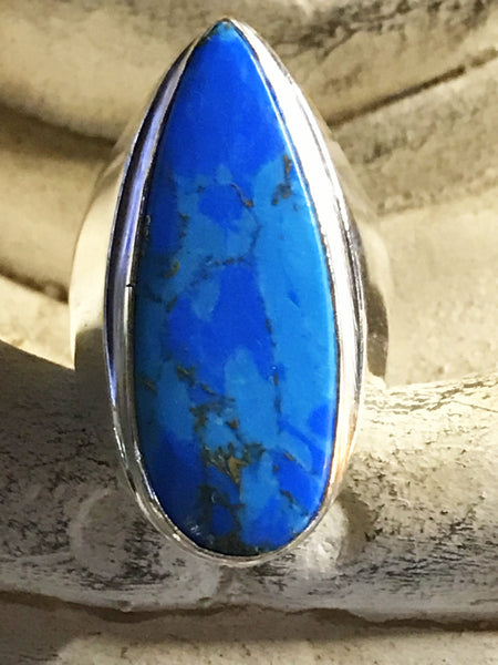 Turquoise Copper Natural Gemstone .925 Sterling Silver Ring (Size 9)