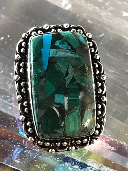 Malachite/Turquoise/Copper Gemstone .925 Sterling Silver Ring (Size 7.5)