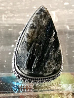 Tourmaline Black Natural Gemstone .925 Sterling Silver Ring (Size 7)