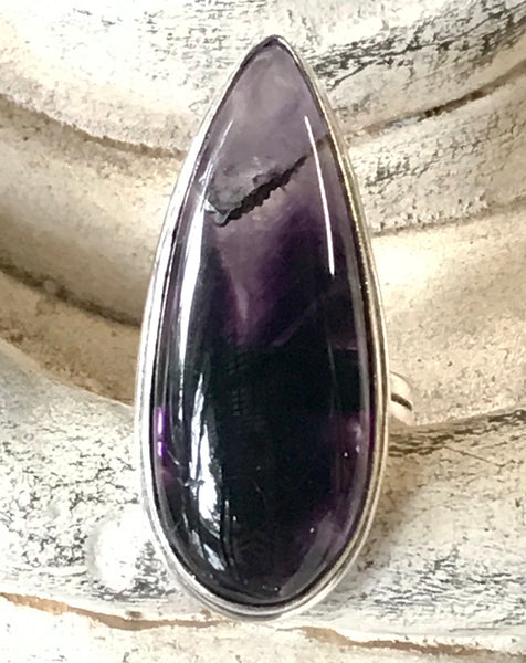 Amethyst Natural Gemstone .925 Sterling Silver Ring (Size 8.75)