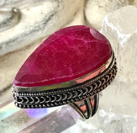 Ruby Natural Faceted Gemstone .925 Sterling Silver Ring (Size 9)