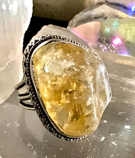 Citrine Natural Gemstone .925 Sterling Silver Ring (Size 8.5)
