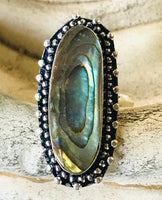 Abalone Shell .925 Sterling Silver Ring (Size 7.25)