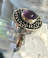 Amethyst Gemstone .925 Sterling Silver Poison Ring (Size 8.25)