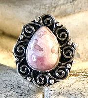 Rhodochrosite Gemstone .925 Sterling Silver Poison Ring (Size 8.5)