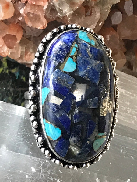 Lapis Lazuli/Turquoise/Copper Gemstone .925 Sterling Silver Ring (Size 7)