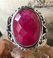 Ruby Natural Faceted Gemstone .925 Sterling Silver Ring (Size 7.5)