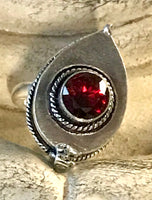 Garnet Gemstone .925 Sterling Silver Poison Ring (Size 8.5)