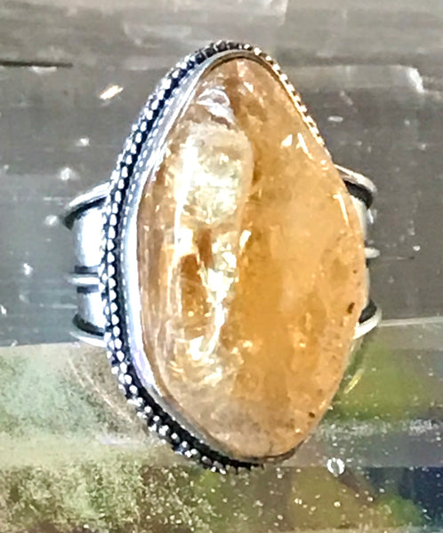 Citrine Natural Gemstone .925 Sterling Silver Ring (Size 9)