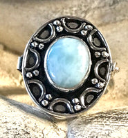 Larimar Gemstone .925 Sterling Silver Poison Ring (Size 7.75)