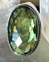 Peridot Natural Faceted Gemstone .925 Sterling Silver Ring (Size: 8)