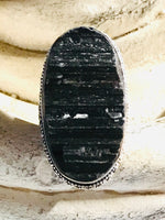 Tourmaline Black Natural Gemstone .925 Sterling Silver Ring (Size 7.5)