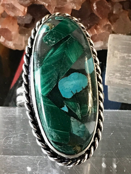 Malachite/Turquoise Copper Gemstone .925 Sterling Silver Ring (Size 9)