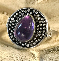 Amethyst Gemstone .925 Sterling Silver Poison Ring (Size 8)