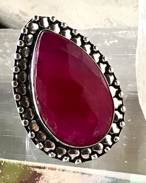 Ruby Natural Faceted Gemstone .925 Sterling Silver Ring (Size 8.5)