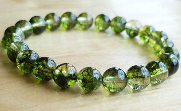 "QUARTZ 'Green Phantom Quartz' Energy Bracelet ""Green Ice"""