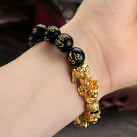 "FENG SHUI BLACK OBSIDIAN Dragon Mantra Energy Bracelet (10mm) ""BALANCE"""