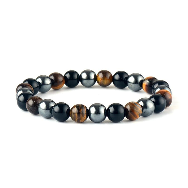 Tiger Eye - Onyx - Hematite Triple Protection Energy Bracelet