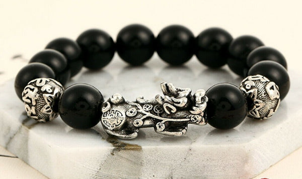 "FENG SHUI BLACK OBSIDIAN Dragon Mantra Energy Bracelet (12mm) ""OM"""