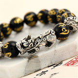 "FENG SHUI BLACK OBSIDIAN Dragon Mantra Energy Bracelet (12mm) ""HEALTH"""