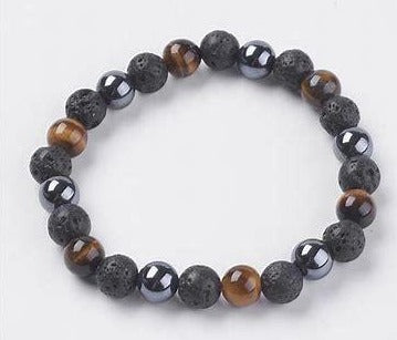 Tiger Eye - Hematite - Lava Stone Triple Protection Energy Bracelet