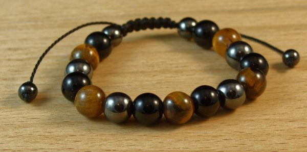 Tiger Eye-Matte Onyx-Hematite Triple Protection Energy Bracelet, Adjustable