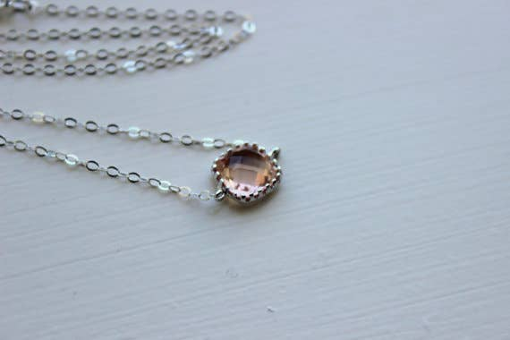 Dainty Blush Champagne Necklace | Sterling Silver