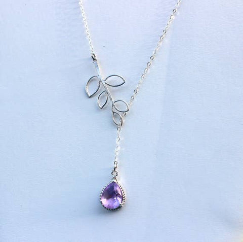 Lavender Lariat Necklace with Open Leaf Detail