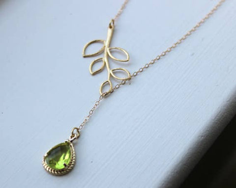 Green Crystal Lariat Necklace with Leaf Detail