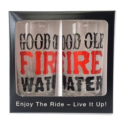 Set of 2 Fire Water  12 oz Glasses