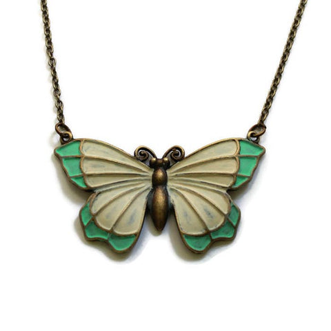 Butterfly Connector Necklace | Vanilla Mint