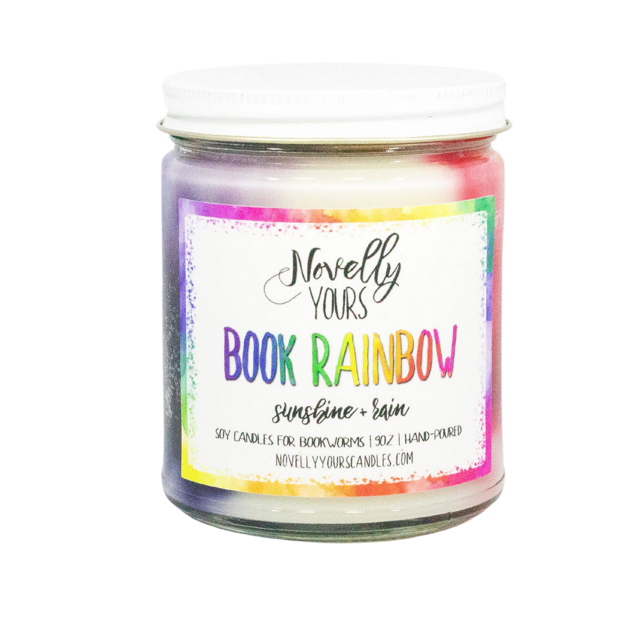 Hand crafted book-themed candle rainbow