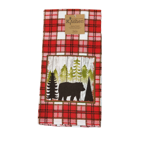 Plaid Bear Towel