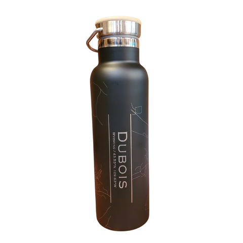 Dubois Map Bottle with Bamboo Top in Matte Black