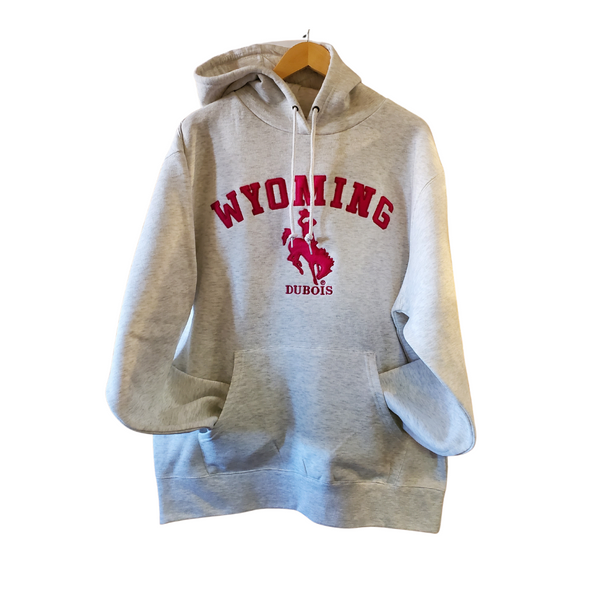 Light gray and hot pink Wyoming hoodie