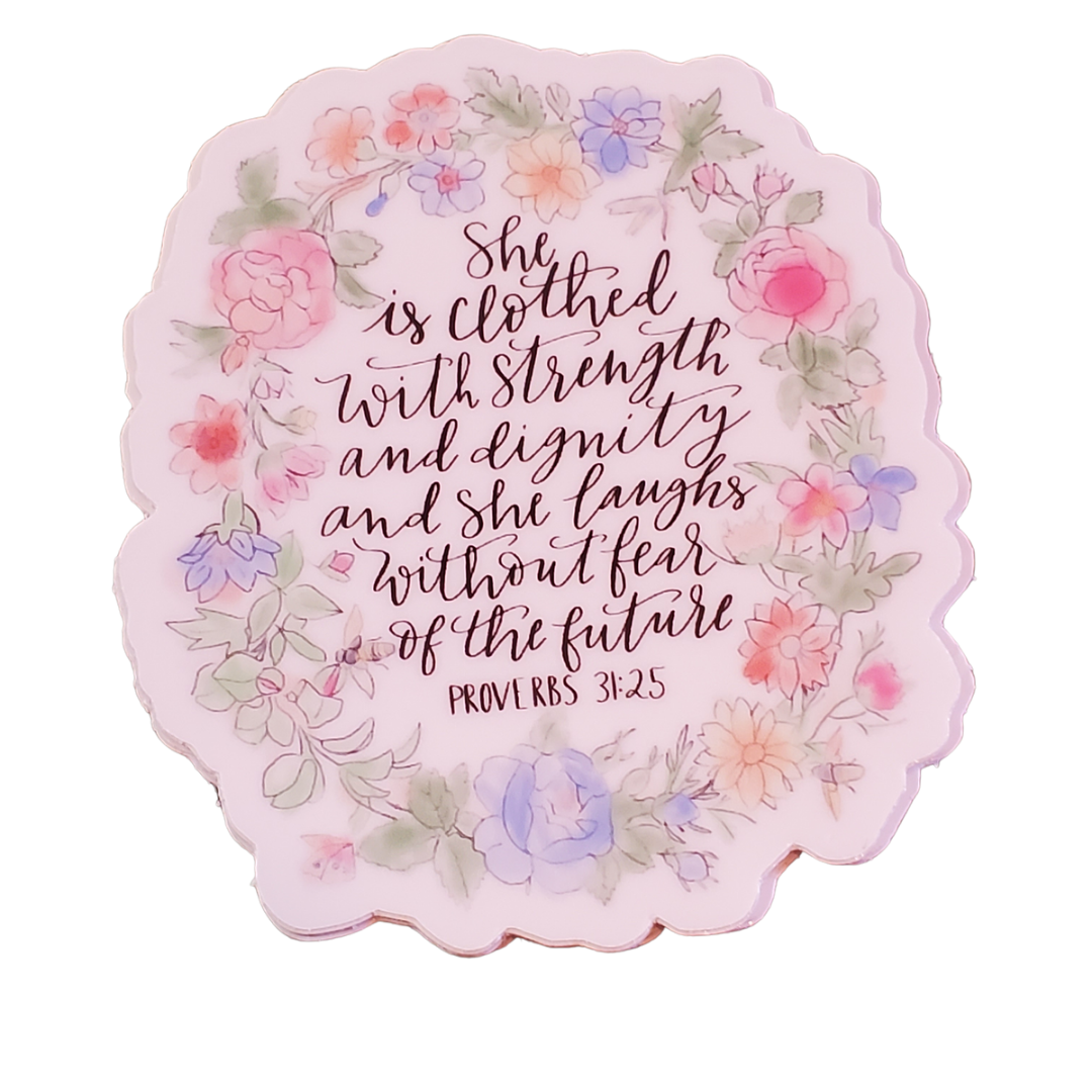 Clothed in Strength Floral Sticker Decal