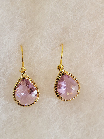 Lavender and Gold Crystal Drop Earrings