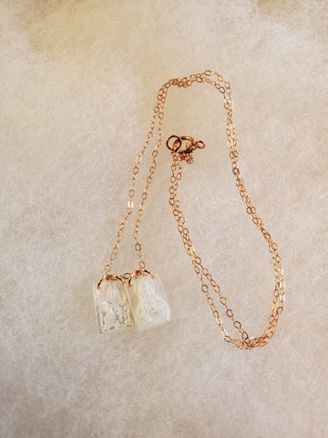 Mother of Pearl Scapular Necklace