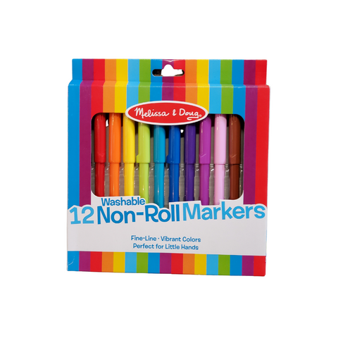 12 Non-Roll Markers | Washable | Non-Toxic