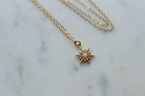 Star Necklace with Opal and 14K gold filled chain