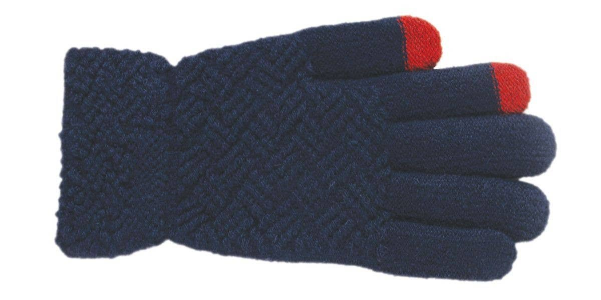 Criss Cross knit gloves- bright navy with red texting tips