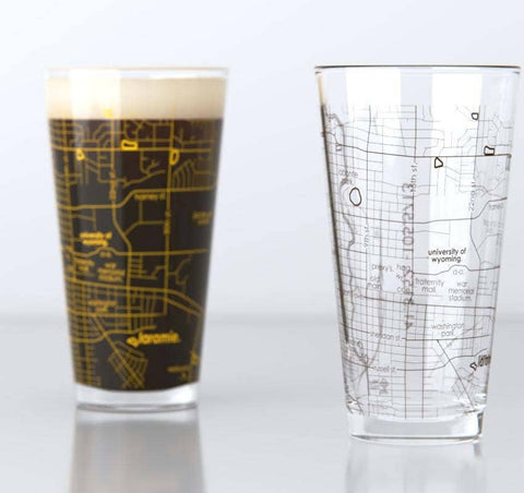 University of Wyoming College Town Map Pint Pair