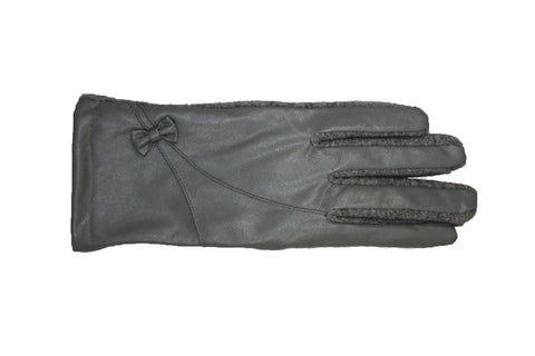 Genuine leather gloves with bow accent