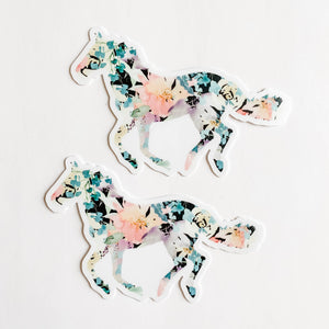 Horse Black Floral Sticker